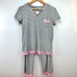 MENTALLY EXHAUSTED striped pyjamas set with lace